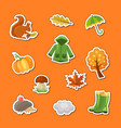 cartoon autumn elements and leaves stickers vector image vector image