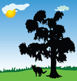 cat under a tree in the park vector image vector image