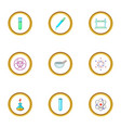 chemical experience icons set cartoon style vector image vector image