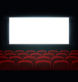 cinema hall with white blank screen and chairs vector image vector image