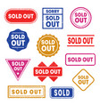colorful sold out labels or stamps set vector image vector image