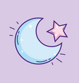 cutem moon with star vector image vector image
