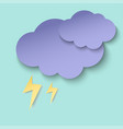 dark paper cut cloud and lightning 3d paper art vector image vector image