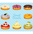 Different kind of donuts vector image vector image