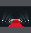 empty round podium with red carpet illuminated by vector image