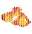 fire hexagon greek lesbos island map vector image vector image