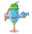 fishing feather duster character cartoon vector image vector image