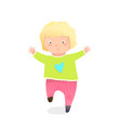 funny blonde kid girl wearing pants running vector image