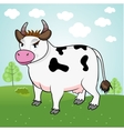 funny cow standing in a meadow vector image