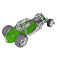 green retro racing car on white background vector image vector image