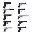 guns modern handguns firearm pistols revolvers vector image