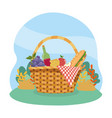 hamper with grapes and wine bottle with sandwinch vector image vector image