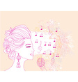 hand drawn girl singing a song on a floral vector image