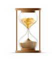 hourglass with sand and gold coins bankruptcy and vector image vector image