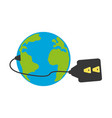 isolated earth electric plug vector image vector image