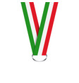 italian ribbon for medal italian tricolor vector image vector image
