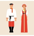 Russian men and women in national costumes vector image vector image