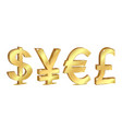 set golden currency sign vector image vector image