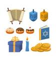 set happy hanukkah religion celebration vector image