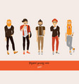 set of male hipsters with smiling faces in vector image vector image