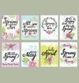 springtime floral greeting card set vector image