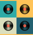 vinyl record set in retro colors old music disc vector image vector image