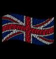 waving british flag mosaic of gay symbol icons vector image vector image