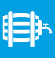 wooden barrel with tap icon white vector image