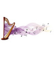 wooden harp with music notes in background vector image vector image