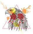 Zentangle stylized Eagle in triangle frame with vector image vector image