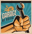 Retro poster design for auto mechanic vector image