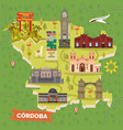argentina cordoba map with sightseeing landmarks vector image vector image