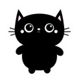 black cat toy icon big eyes kitty kitten standing vector image