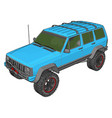 blue jeep cherokee on white background vector image vector image