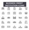 Business credit institution line icons for web and