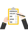 business hand checking feedback questionnaire vector image vector image