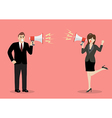 Businessman and woman are shouting on each other vector image