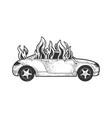 car on fire sketch vector image