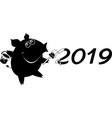 cartoon pig paints new year inscription vector image