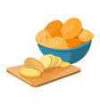 cartoon potato bowl cutting board with potato vector image