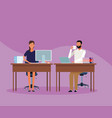 colleagues man and woman at office vector image