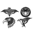 collection of eagle symbols vector image vector image