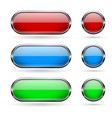 colored glass buttons with chrome frame vector image vector image