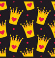 crown and polka dots seamless background vector image