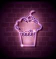 cupcake sweet neon label vector image