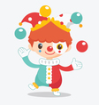 cute clown with balls vector image vector image