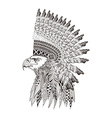 entangle stylized head eagle in feathered war vector image vector image