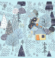 forest seamless pattern background with winter vector image vector image