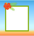 frame topped by red flower summertime border vector image