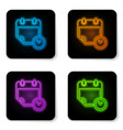 glowing neon calendar and clock icon isolated on vector image